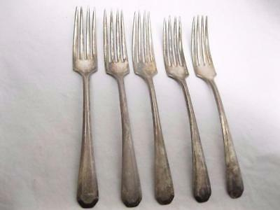 1917 Lincoln Pattern Wm Rogers & Son Dinner Fork Lot Silver Plated Set Old Vtg