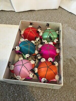 6 Chinese Satin Pin Cushions with Box-#105