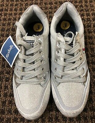 edf67c40c NEW With Tag Tommy Hilfiger Silver Sneakers  Glitter Shoes Youth Girls Sz 3