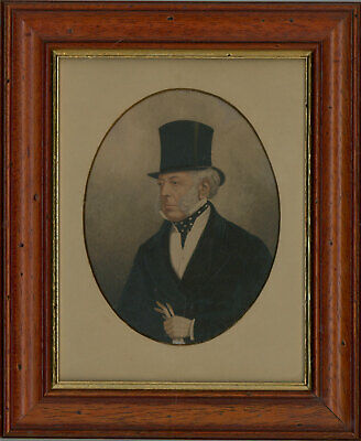 Late 19th Century Miniature Watercolour - Portrait of a Victorian Gentleman