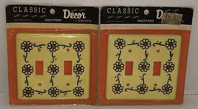 Vintage GROVE Sunflowers Floral Lot of 2 Double Light Switch Cover Wallplate NOS