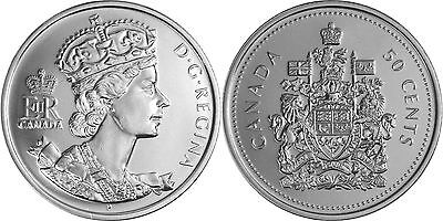 Canadian fifty cent coins 2002 Anniversary of Elizabeth II Coronation. UNC
