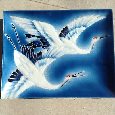 Vintage Japanese Tutanka Cloisonne Tray, Red Crowned Crane, Boxed with Stand
