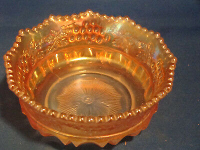 "Northwood Bowl Marigold Carnival Grape and Cable Small Berry Bowl Marked ""N"" @23"
