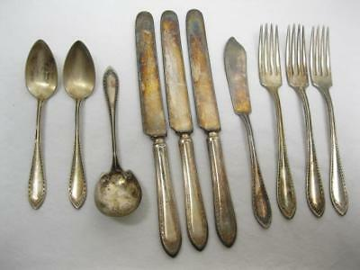 1910 Sheraton Pattern Community Spoon Fork Silver Plated Partial Set Lot Old Vtg