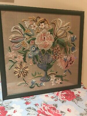 Vintage Embroidered Needlework Wool Work Floral Framed Picture Shabby Chic