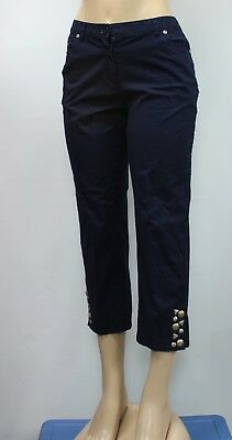 Hearts Of Palm Women's Stretch Capris Cropped Pants Navy Size 6