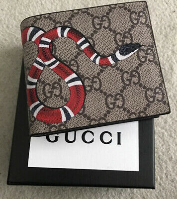 dac36c9a1e5866 GUCCI Wallet Kingsnake Print GG Supreme Leather Wallet Beige New in  Original Box
