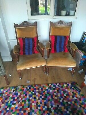 pair of Edwardian mahogany and velvet chairs