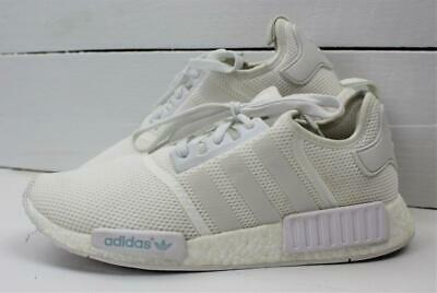 ADIDAS NMD R1 Boost Monochrome Triple White Mesh Mens Shoes Size 12
