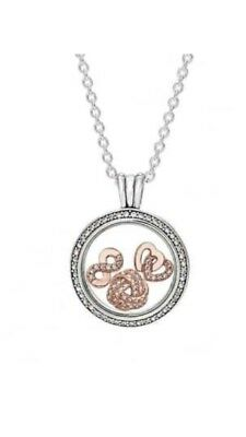 Pandora Sparkling Floating Silver Locket Necklace With Rose Gold Petites New