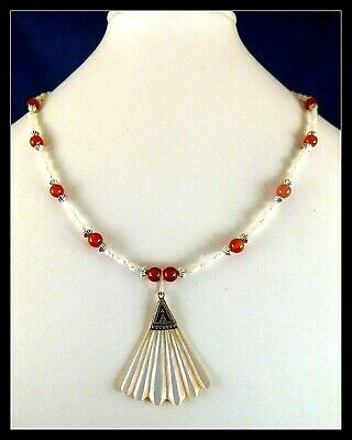 Southwest Sterling SHELL PENDANT hand-beaded freshwater pearl carnelian necklace