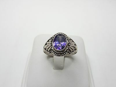 """925 Sterling Silver """"Bali"""" style  ring with purpel stone"""