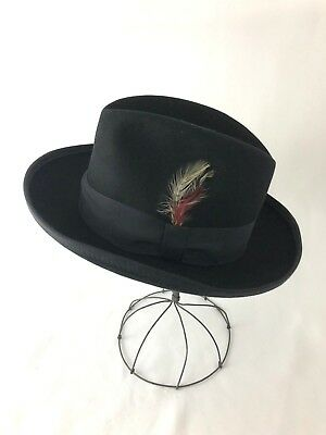 91c25462249964 Vtg Style Men's Small Fedora Hat Trilby Player Feather Wool Felt Black,  Gangster