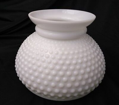"Vtg Milk Glass Lamp Shade White Hobnail GWTW Student Coleman Aladdin Rayo 7"" Fit"