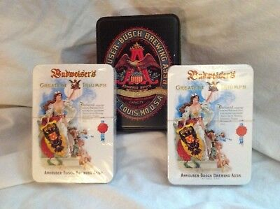 Budweiser Playing Cards Brand New Never Opened vintage Metal Container England