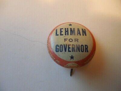 New York Herbert Lehman Local Governor Pin Back Political Campaign Button 1930's