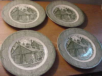 """Royal China """"Old Curiosity Shop"""" 10 inch Dinner Plates,Set of 4, Green"""