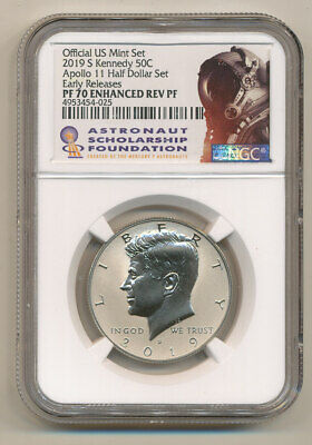 2019 S NGC PF70 ER Enhanced REVERSE Proof Kennedy half APOLLO ASF Astronaut