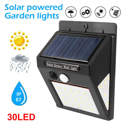 4X 40/30 LED Solar Powered PIR Motion Sensor Security Lights Garden Outdoor Lamp