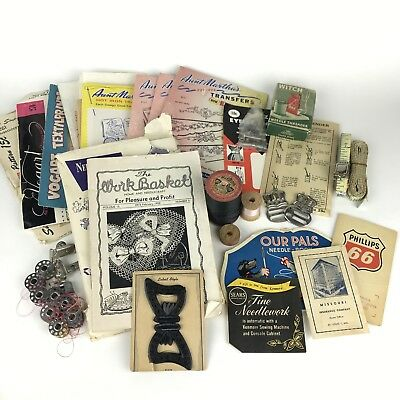Vintage Sewing Lot - Transfers Needlework Patterns Gadgets Needle Books & More