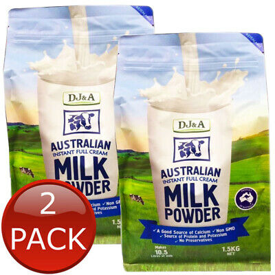 2 x DJ&A AUSTRALIAN INSTANT FULL CREAM MILK POWDER NO PRESERVATIVES DRINK 1.5kg