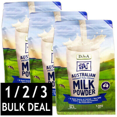 DJ&A AUSTRALIAN INSTANT FULL CREAM MILK POWDER NO PRESERVATIVES CALCIUM 1.5kg
