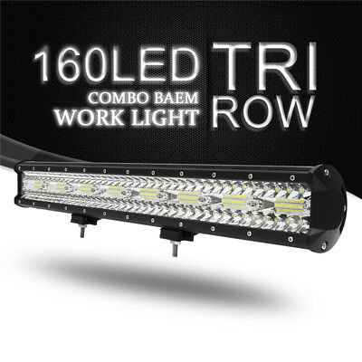 23Inch 480W Tri Row 160LED Work light Bar Flood Spot Combo For Car Truck Offroad
