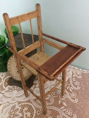 Collector's-Primitive-Vintage-Antique Wooden Highchair for a small Doll