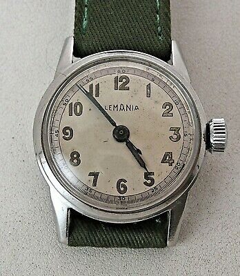 RARE 1940's WWII Korea Military Lemania S27 Stainless Steel Men's Watch Serviced