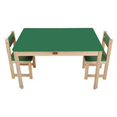 TikkTokk Wooden Children's kids Toddler Table & 2 Chairs Set Rectangular GREEN