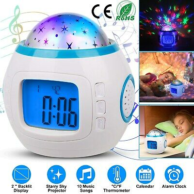 Music LED Star Sky Projection Lamp Digital Alarm Clock Thermometer Calendar Kids
