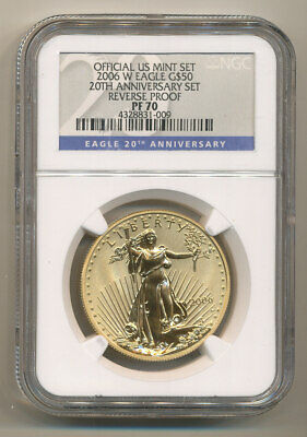 2006-W $50 REVERSE NGC PF70 Proof American GOLD Eagle BLUE Labl 20th Anniversary