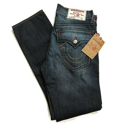 6887ee587 True Religion Dragons Lair Faded Slim Jeans Mens 32 Blue Cotton Flap Pockets  NWT
