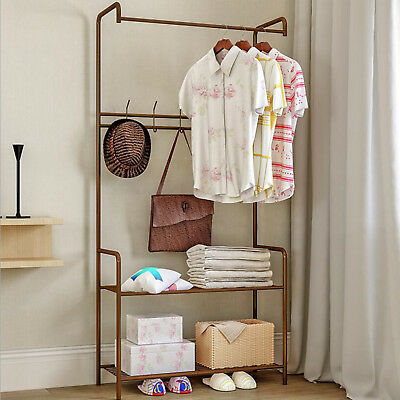 Anti-rust Steel Iron Coat Rack Hat Hook Storage Stand Entryway Bench US Delivery
