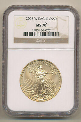 2008-W $50 NGC MS70 BURNISHED GOLD Eagle - one ounce