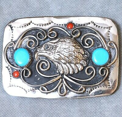 Handmade Southwest Nickle Silver Belt Buckle Eagle Turquoise Coral