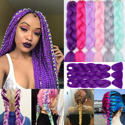 US Real Jumbo Braiding Hair Extension Sew in Xpression Twist Braids Ombre Purple