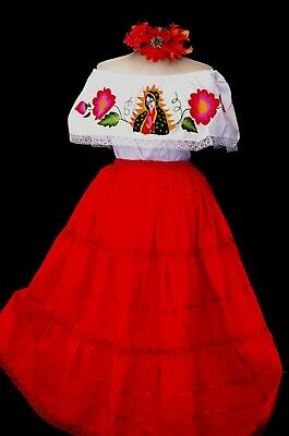 Virgen Guadalupe Mexican Dress Ivory Cotton Manta Lace Off