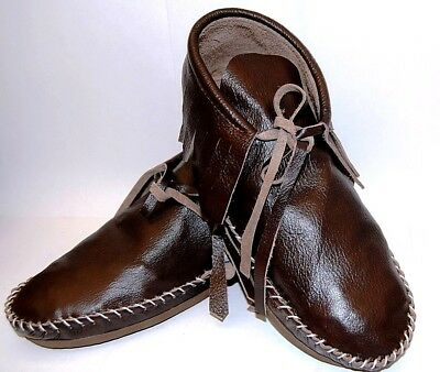 Brown leather Soft Moccasins men's low boot fringe Western Indian lace up Tehuas