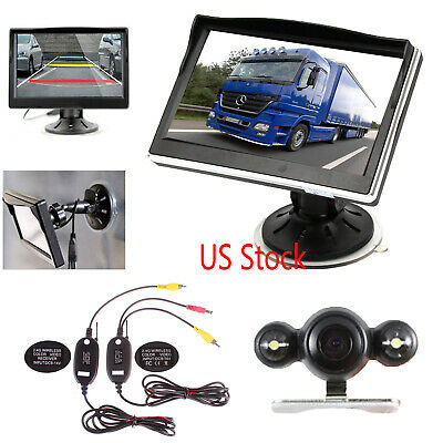 """Wireless IR Rear View Back up Camera Night Vision System+ 5"""" Monitor for Car SUV"""