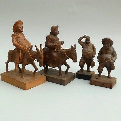 4 ~ Vintage Carved Wooden Figures ~ Don Quixote ~ OURO Artesania Ornament Spain