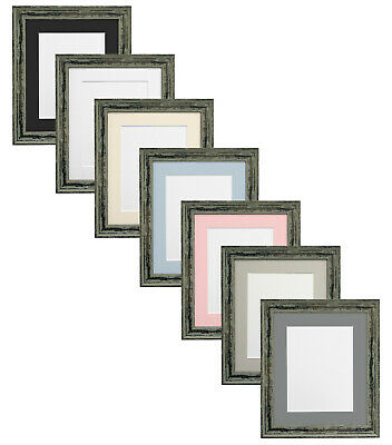 Distressed Industrial Green Picture Photo Frames with Choice of Coloured Mounts