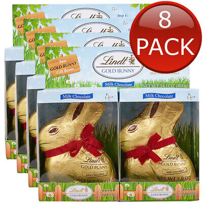 8 x LINDT GOLD BUNNIES EASTER BUNNY MILK CHOCOLATE BUNNY CHOC SWEETS GIFT 200g