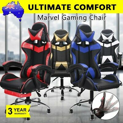 Gaming Chairs Computer Office Racing PU Leather Seating Racer Footrest Executive