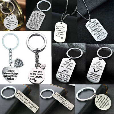 Stainless Steel Hollow Heart Love Rectangle Keyring Chain Family Friends Couple
