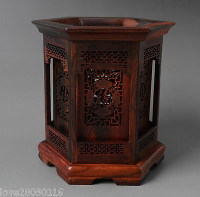 Chinese Noble Hexagon Shape Rosewood Hollow Out Carved FU Character Brush Pot