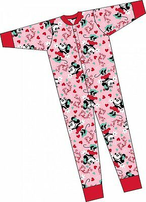 Girls Minnie Mouse 'Lots of Love' pink One piece sleep suit nightwear pyjamas