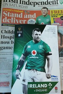 Ireland v England February 2019 Six Nations rugby programme & Independent paper