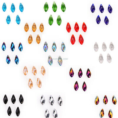 Wholesale 20Pcs Glass Loose Teardrop Charms Spacer Beads Crystal 6 8 10mm Lots